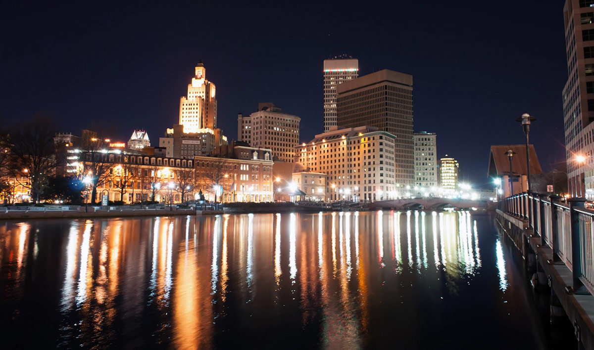 Providence glowing at night